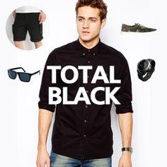 Editor's fashion picks - Total black & classic #menfashion #fashion #black #trendsetters Fashion Black, Mens Fashion, Total Black, Sporty, Classic, Tops, Style, Moda Masculina, Derby