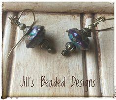 Turquoise Lampwork Earrings Purple Lampwork Glass Earrings