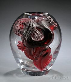 Lalique Collector's Edition Ruby Dragon Vase Art glass France Swollen clear glass body with two applied ruby glass dragons, marked Rubris and Lalique France in script on base and numbered in fitted box, ht. Art Nouveau, Art Deco, Cristal Art, Art Of Glass, Clear Glass, Cut Glass, Vases, Glass Ceramic, Objet D'art