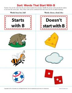 Letter B Starting Consonant Worksheet - This simple alphabet game asks your student to sort the cards into two piles: one pile for words that start with B and another for words that don't. You may combine this set with others to practice the whole alphabet! Use it for Common Core Standards Language practice for kindergarten and 1st grade, or for any student needs the drill.