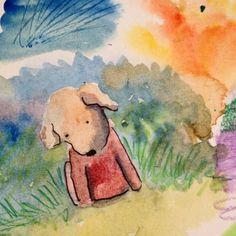 Pozinho pensando Bea vem me abraar  Little Bread thinking Bea come hug me dwgdaily watercolor sketch