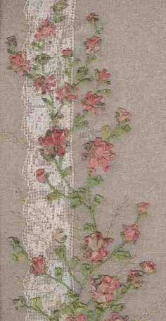 Silk ribbon roses on lace - embroidered panel
