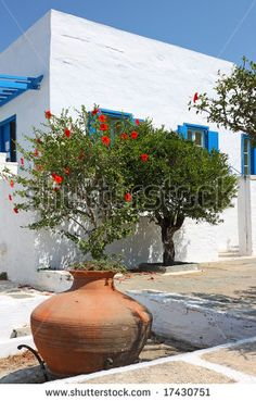 A part of a typical Greek island white house with the flowers in the front (Pirgos, Tinos island, Greece)