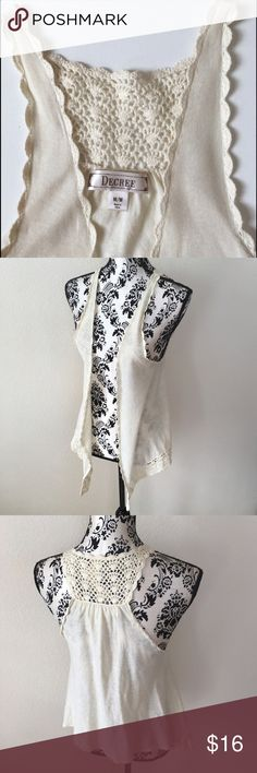 Decree lace vest Decree lace vest with lace detail back and longer handkerchief style front. Ivory or cream colored lightweight knit Decree Jackets & Coats Vests