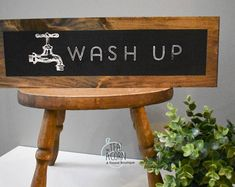 This item is unavailable Chalkboard Background, Chalkboard Paint, Farmhouse Style Kitchen, Kitchen Signs, Hand Painted Signs, Bathroom Signs, Bathroom Styling, Diy Home Decor, Projects