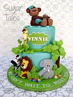 Tiered Cake Topped with Fondant Monkey