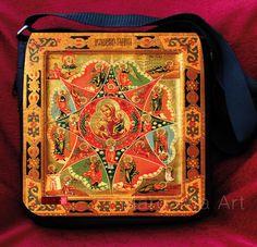 * Schicke Umhängetasche / Schultertasche mit Russland-Ikonen-Design – Gottesmutter mit Jesuskind (07). *    Mit dieser Tasche fällst Du garantiert auf