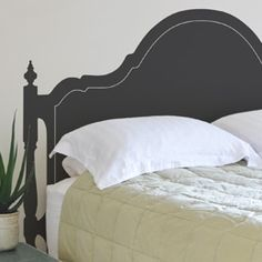 a great cheap headboard. Just need another guest room now. Faux Headboard, Headboard Decal, Headboards, Painted Bed Frames, Painted Beds, Headboard Alternative, Paint Designs, Cozy House, Cheap Home Decor