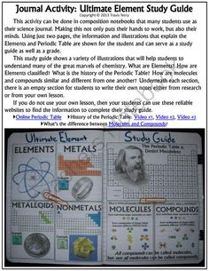 Science Journal: Ultimate Element Study Guide from MrTerrysScience on TeachersNotebook.com -  (10 pages)  - A great science journal activity that will provide some work for the students' hands and also their minds! Colorful and fun, students can use this to study the Elements, Molecules, Compounds, the Periodic Table and its history.