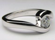 Petite Round Diamond Modern Swirl Solitaire Engagement ring White gold