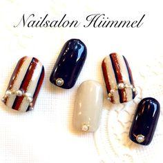 ストライプネイル♡ Diy Nails, Cute Nails, Pretty Nails, Space Nails, Kawaii Nails, Striped Nails, Fall Nail Art, Types Of Nails, Flower Nails