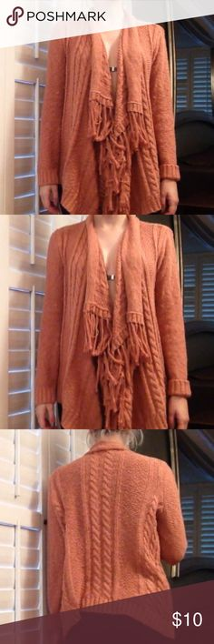Pre Loved Comfy and stylish rust color cardigan Rust/Orange color cardigan-  100% cotton with cool detail in front Forever 21 Sweaters Cardigans