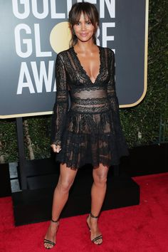 All the Glamorous 2018 Golden Globes Red Carpet Arrivals - Halle Berry from InStyle.com