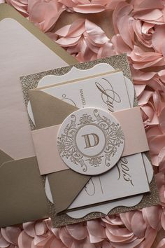 Blush and Gold Ornate Die Cut Wedding Invitation