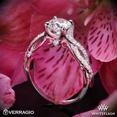 1.005ct I VS2 A CUT ABOVE Round Diamond set in Verragio INS-7050R 4 Prong Twisted Shank Diamond Engagement Ring