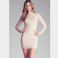 Sold. 159$ Bebe Lace Dress in Blush NWOT. Comes with a Bebe paper bag. New Season. Sold out instantly on Bebe online and stores. Hugs curves in the right places. Never worn or washed.  Perfect for New Years Eve. Fits like 0 or 2. bebe Dresses Mini