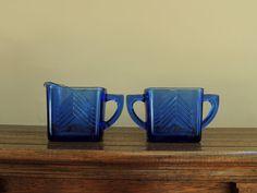 Vintage Cobalt Blue Creamer and Sugar by LeBrunDesignsInc on Etsy