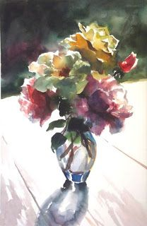 'Backlit Beauties' by Erin Dertner ~ 22x15 - Impressionist watercolor painting. Won Best Overall Watercolor in the Plein Air Salon.