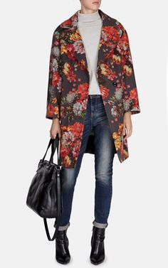 Floral print oversized coat