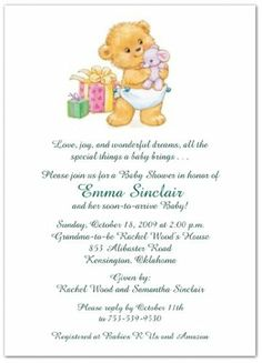 Bearing Gifts Baby Shower Invitations: Bearing Gifts features a cute and cuddly little bear in a diaper smiling while clutching his favorite stuffed a Baby Shower Card Sayings, Baby Shower Quotes, Baby Shower Cards, Baby Boy Shower, Baby Shower Gifts, Baby Shower Invitation Wording, Baby Shower Invitations For Boys, Baby Shower Printables, Baby Shower Prizes