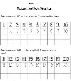 Writing Numbers 1 20 Printables | ESGI | One-on-One Assessments Made Easy | Education Software for ...
