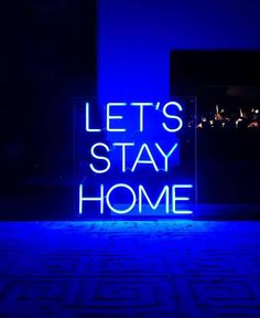 This Let's Stay Home - NEON Sign - custom neon light home decor is just one of the custom, handmade pieces you'll find in our signs shops. Blue Neon Lights, Custom Neon Lights, Blue Aesthetic Dark, Neon Aesthetic, Blue Aesthetic Tumblr, Neon Wallpaper, Blue Wallpapers, Neon Azul, Orange Pastel