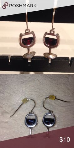 """🍷 STERLING SILVER DANGLING WINE GLASS EARRINGS Pre-owned. Sterling silver dangling glass with deep red stone on each acting as the wine in the glass. Rubber stoppers on each earring. Each wine glass measures approx 3/4"""". unknown Jewelry Earrings"""