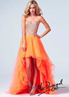dd3740e4fb8 Mac Duggal 61652A - Neon Orange Beaded Strapless Hi-Low Prom Dresses Online   thepromdresses