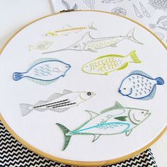 We love @kfneedlework's stand out stitches! 🐟 🐠 🦈 For more embroidery inspiration, visit DMC.com to see our hundreds of FREE patterns. Diy Embroidery Patterns, Hand Embroidery Projects, Embroidery Stitches Tutorial, Simple Embroidery, Modern Embroidery, Beaded Embroidery, Embroidery Sampler, Paper Embroidery, Quilt Patterns