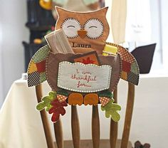 Thankful Owl Chairbacker #PotteryBarnKids- So cute to put little gifts in and hang on their bedroom door!