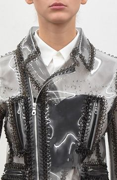 Transparent plastic jacket with macrame trim; sewing; textiles; fashion detail // Noir Kei Ninomiya Spring 2016