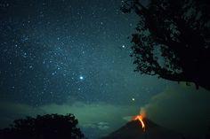 Karo, North Sumatra Mount Sinabung volcano spews lava against a night sky in Karo