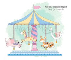 Animals clipart set 1Carousel clipart PNG file 300 dpi