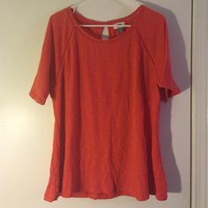 Flowy orange top Orange top with openings from old navy. Worn once and in excellent condition. Opening in the back has a button, sleeves fall just above the elbows. Old Navy Tops Blouses