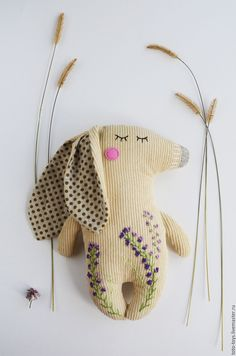 Fabric toy Bunny with hand embroidery   Купить Игрушка Зайка - бежевый, игрушка, текстильная игрушка, зайка, заяц, игрушка зайка