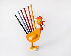 Vintage wooden rooster handpainted pencil holder by ilivevintage, $34.00