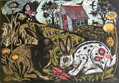 Salad Days, Linocut, by Mark Hearld (UK). Size: 59 x Art And Illustration, Linocut Prints, Art Prints, Glasgow School Of Art, Royal College Of Art, Arte Popular, Mellow Yellow, Printmaking, Illustrators