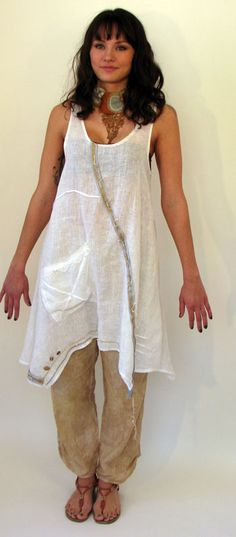 Anita Linen Tunic - Hmm looks like that wandering seam of ribbon goes beyond the hem - I like that.
