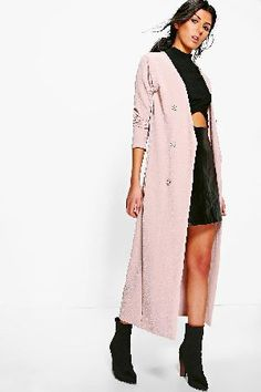 8cc84f8a1c boohoo Button Front Longline Duster Jacket - stone Eva Button Front  Longline Duster Jacket - stone