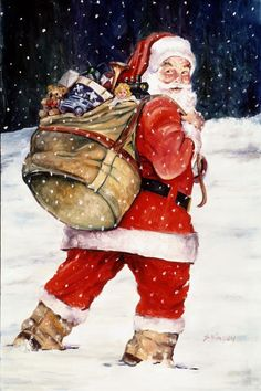 Santa in the snow by skoilpainting on Etsy, $40.00