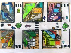 tekenen groep 7 - Google Search High School Art Projects, Craft Projects For Kids, Middle School Art, Art School, Visual Art Lessons, City Drawing, Perspective Art, Ecole Art, Classroom Crafts