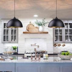 Farmhouse Kitchen Lighting, Farmhouse Pendant Lighting, Farmhouse Light Fixtures, Kitchen Lighting Fixtures, Kitchen Pendant Lighting, Kitchen Pendants, Modern Farmhouse Kitchens, Home Decor Kitchen, Kitchen Interior