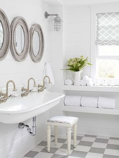 White Farmhouse Cottage Style Bathroom | Get the look: Kohler Brockway sinks @bhg