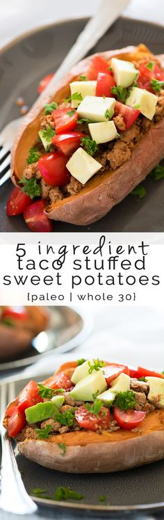 Stuffed sweet potatoes, healthy, recipes, paleo, whole 30, turkey, taco, Mexican, easy, southwest, baked, avocado, 21 day fix, clean, dairy free