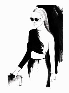 Fashion illustration - stylish black white fashion drawing; runway sketch // Kornelia Debosz