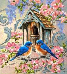 Diamantmalerei – Couple Birds And Love House Bird Pictures, Pictures To Paint, Diy Painting, Painting & Drawing, Painting Flowers, Painting Canvas, Vogel Gif, Vintage Birds, Bird Prints