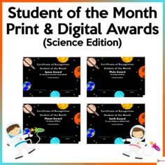 Celebrate and acknowledge your students' success monthly with these fun Science Themed Awards that use Science vocabulary. They are perfect to print on colored cardstock or send them digitally to your students. The certificates are editable to type in your student's name, date, and teacher.This res...