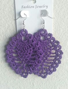 Large Pineapple Crochet Earrings Purple by ImpressiveDesigns, $8.00