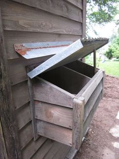 Chicken coop - nesting box with outside access. Good to have!