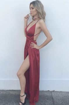 Sexy Burgundy Maxi dress a0dd93477da0